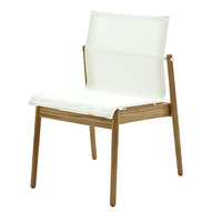 Sway Stacking Chair In Buffed Teak With White Sling