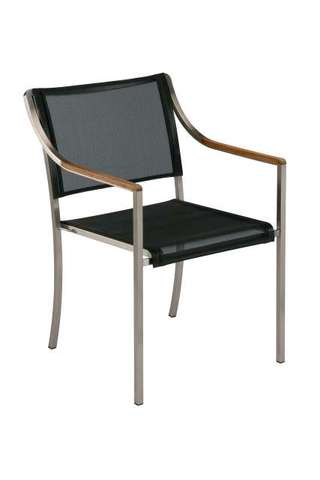 Quattro Stacking Armchair (Charcoal Sling/ Teak Armrest)