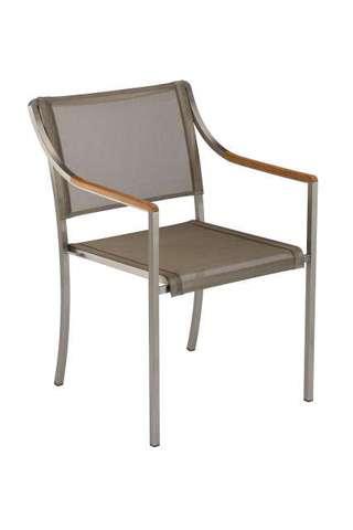 Quattro Stacking Armchair (Titanium Sling/ Teak Armrest)