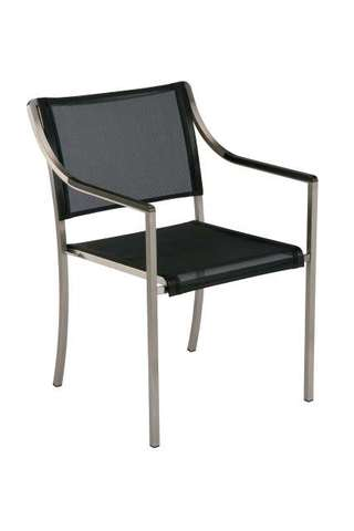 Quattro Stacking Armchair (Charcoal Sling/ Graphite Armrest)