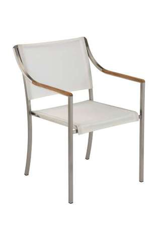 Quattro Stacking Armchair (Pearl Sling/ Teak Armrest)