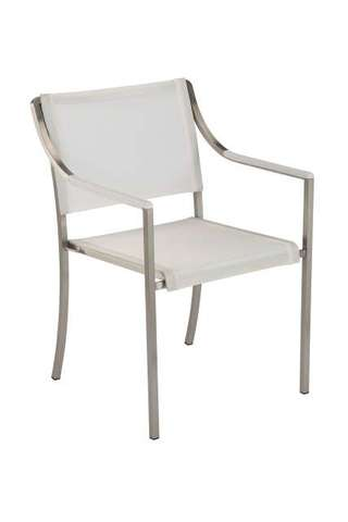 Quattro Stacking Armchair (Pearl Sling/ Arctic White Armrest)