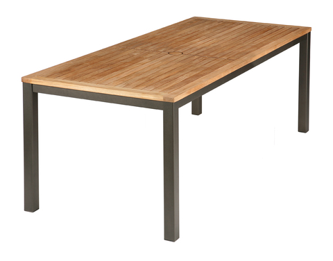 Aura 200cm Dining Table (Graphite frame/Teak top)