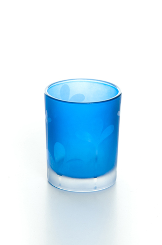 Frosted Blue Leaf Glass Votive