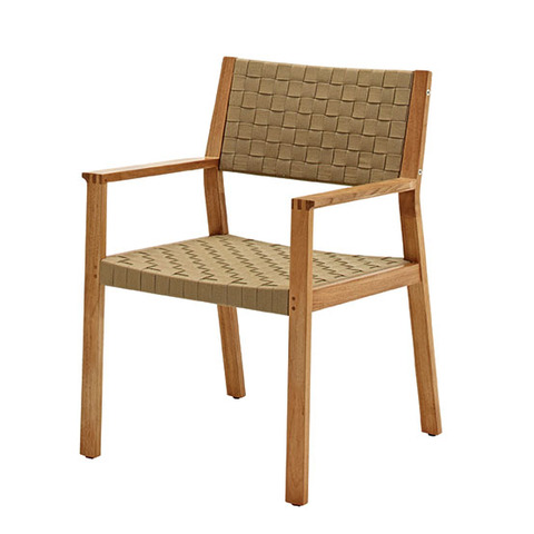 Maze Dining Chair with Arms In Buffed Teak With Malt Coloured Strap