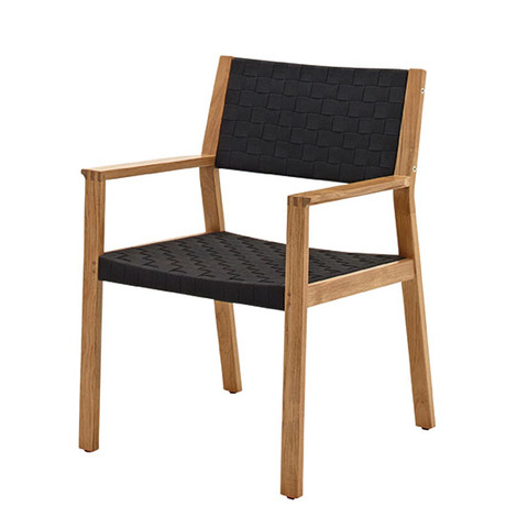 Maze Dining Chair with Arms In Buffed Teak With Noir Coloured Strap