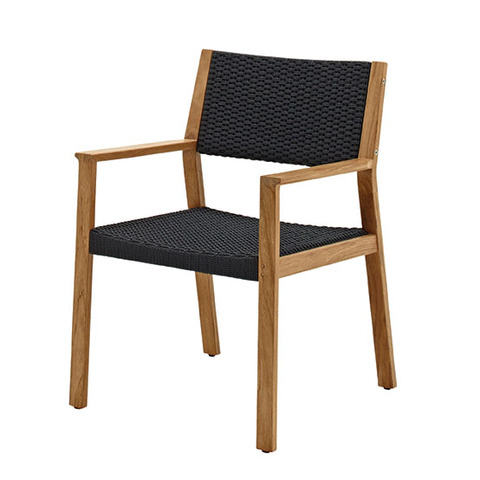Maze Dining Chair with Arms In Buffed Teak With Flint Coloured Rope