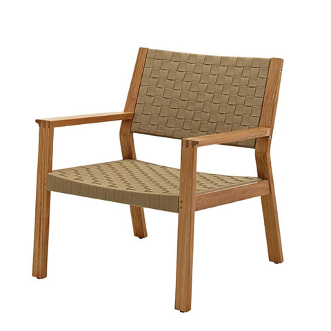 Maze Lounge Chair In Buffed Teak With Malt Coloured Strap