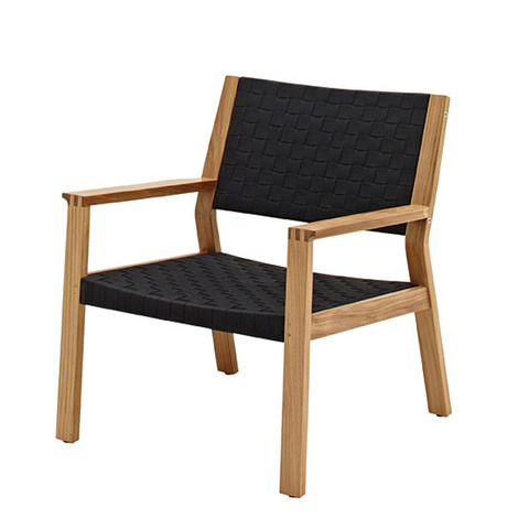 Maze Lounge Chair In Buffed Teak With Noir Coloured Strap