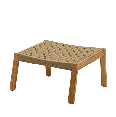 Maze Footstool In Buffed Teak With Malt Coloured Strap