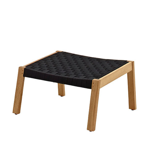 Maze Footstool In Buffed Teak With Noir Coloured Strap