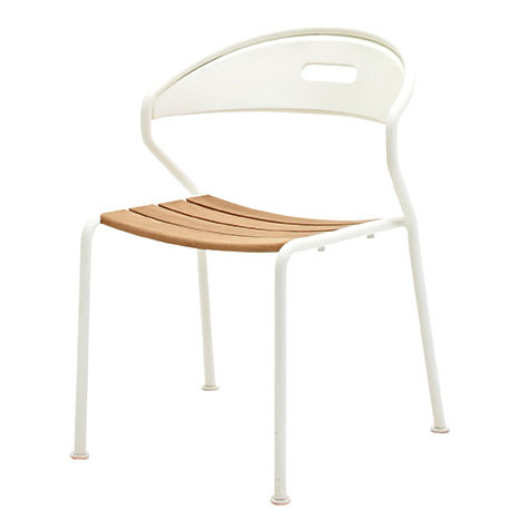 Curve Stacking Chair In Buffed Teak With White Frame