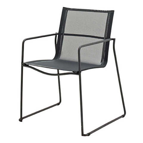 Asta Stacking Chair with Arms Meteor Frame With Grey Slings