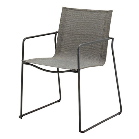 Asta Stacking Chair with Arms Meteor Frame With Granite Slings
