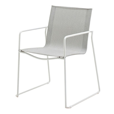 Asta Stacking Chair with Arms White Frame With Seagull Slings