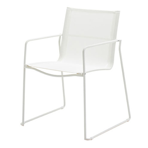 Asta Stacking Chair with Arms White Frame With White Slings