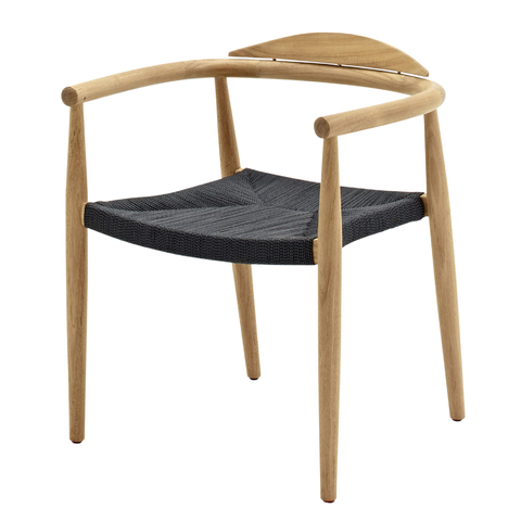 Dansk Stacking Chair With Arms In Buffed Teak With Flint Coloured Rope