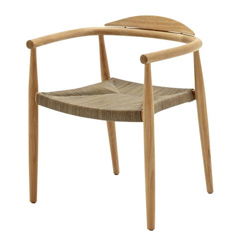 Dansk Stacking Chair With Arms In Buffed Teak With Putty Coloured Wicker
