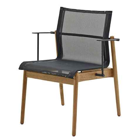 Sway Stacking Armchair In Buffed Teak With Grey Sling