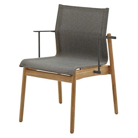 Sway Stacking Armchair In Buffed Teak With Granite Sling