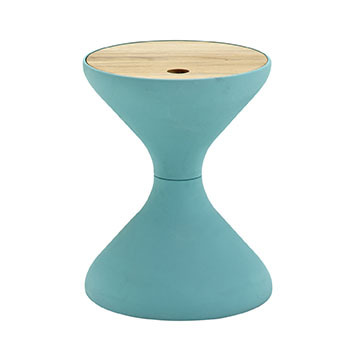Bells Side Table In Aqua With Buffed Teak Top