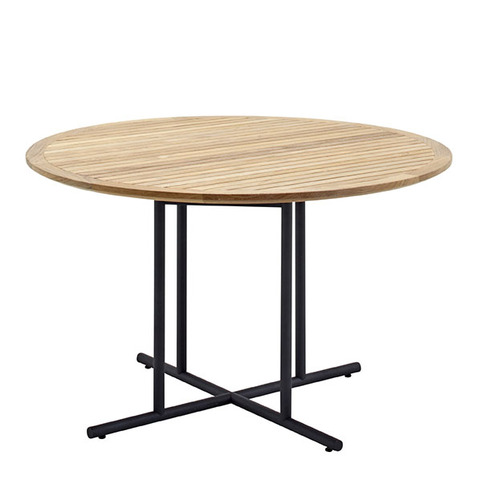 Whirl 120cm Round Dining Table With Buffed Teak Top And Meteor Frame