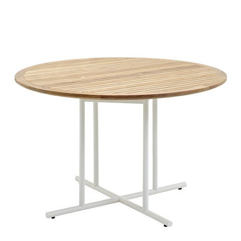 Whirl 120cm Round Dining Table With Buffed Teak Top And White Frame