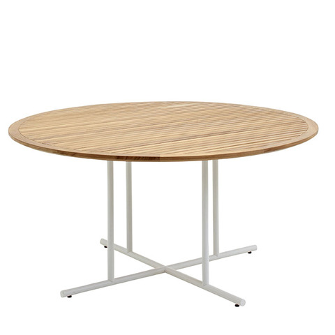 Whirl 150cm Round Dining Table With Buffed Teak Top And White Frame