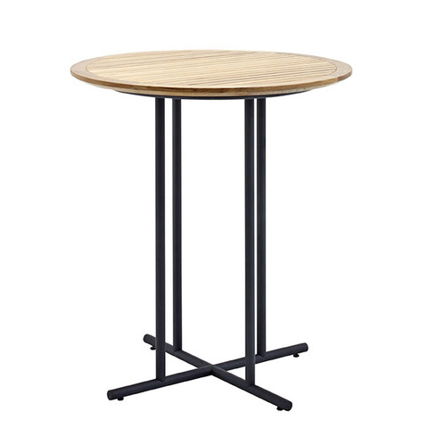 Whirl 90cm Round Bar Table With Buffed Teak Top And Meteor Frame