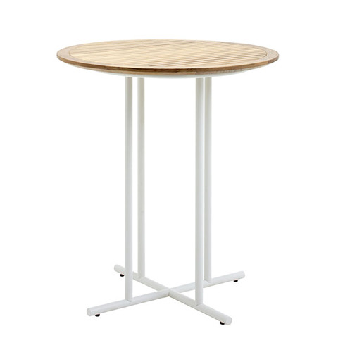 Whirl 90cm Round Bar Table With Buffed Teak Top And White Frame