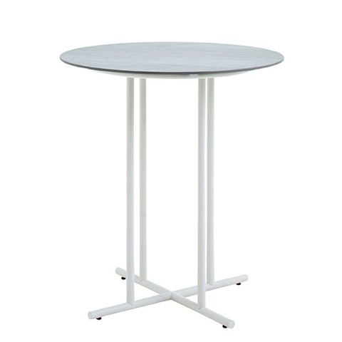 Whirl 90cm Round Bar Table With Ceramic Top And White Frame