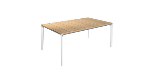 Carver 99cm x 170cm Table With Buffed Teak Top And White Frame