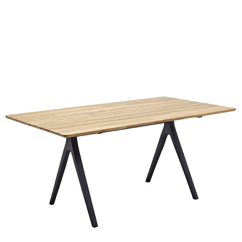 Split 92cm x 170cm Dining Table With Buffed Teak Top And Meteor Frame