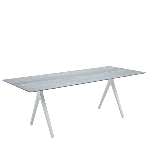 Split 92cm x 220cm Dining Table With Ceramic Top And White Frame