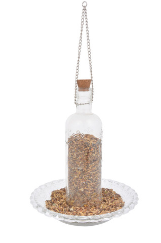 Hobnail Glass Bottle Bird Feeder