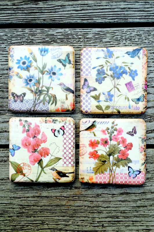 Floral Postcard Resin Coaster