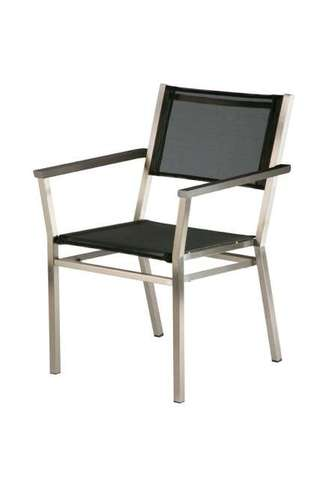 Equinox Armchair Teak Armrest and Charcoal Sling)