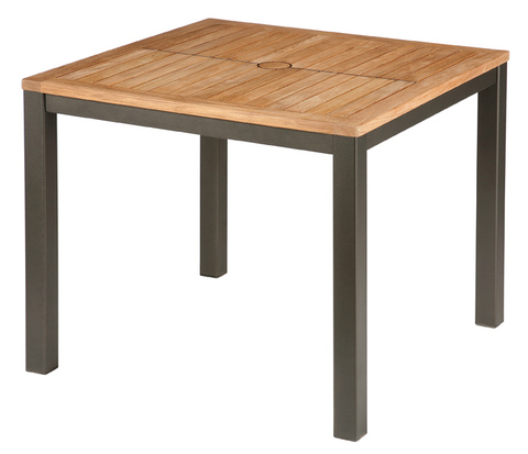 Aura 90cm Dining Table (Graphite frame/Teak top)