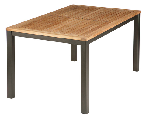Aura 150cm Dining Table (Graphite frame/Teak top)