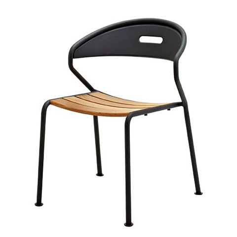 Curve Stacking Chair In Buffed Teak With Meteor Frame