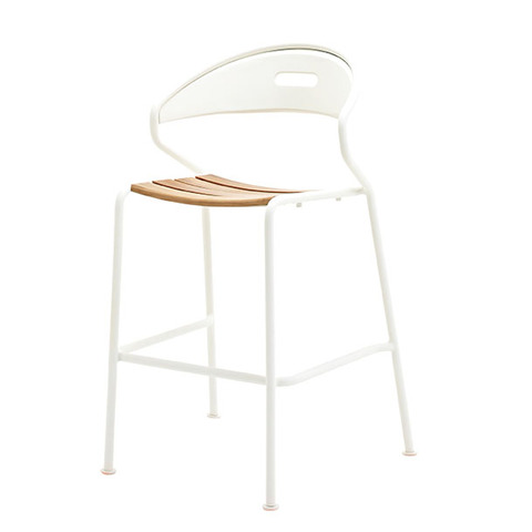 Curve Bar Chair In Buffed Teak With White Frame