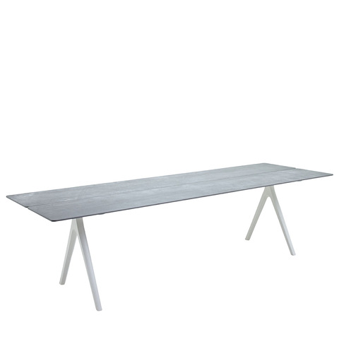 Split 92cm x 280cm Dining Table With Ceramic Top And White Frame