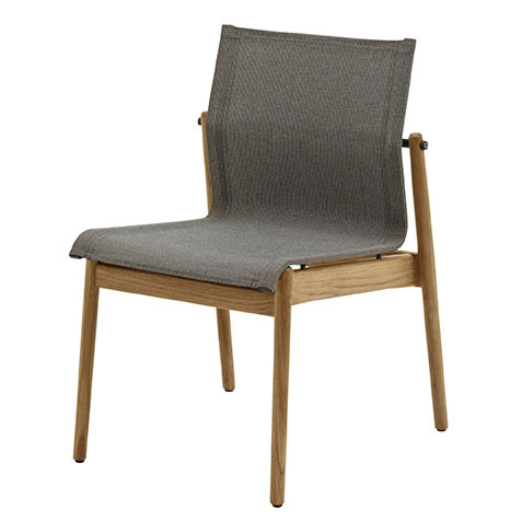 Sway Stacking Chair In Buffed Teak With Granite Sling