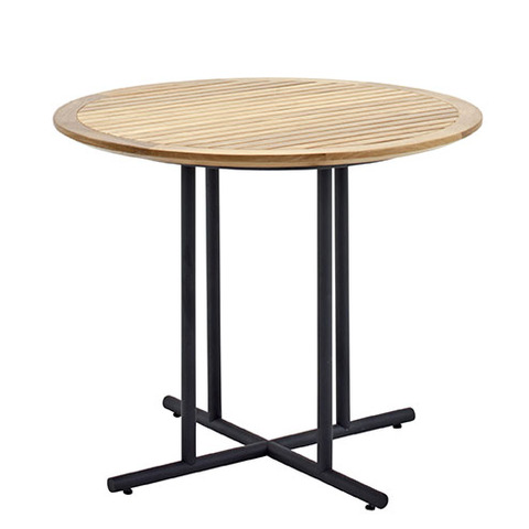Whirl 90cm Round Dining Table With Buffed Teak Top And Meteor Frame
