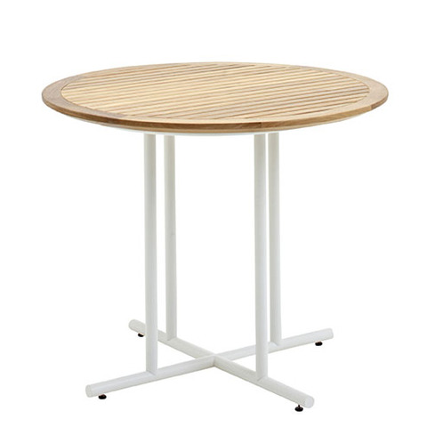 Whirl 90cm Round Dining Table With Buffed Teak Top And White Frame