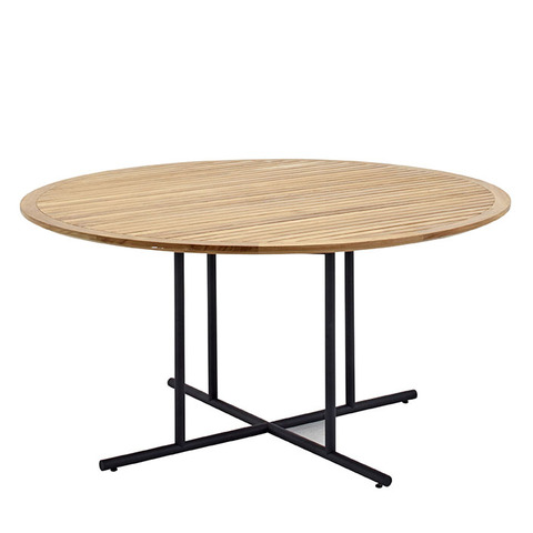 Whirl 150cm Round Dining Table With Buffed Teak Top And Meteor Frame