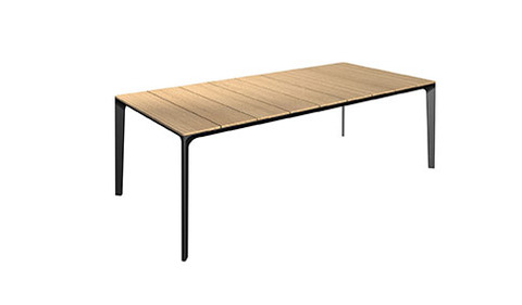 Carver 99cm x 220cmTable With Buffed Teak Top And Meteor Frame