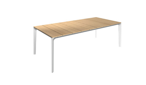 Carver 99cm x 220cm  Table With Buffed Teak Top And White Frame
