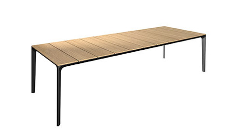 Carver 99cm x 280cm Table With Buffed Teak Top And Meteor Frame