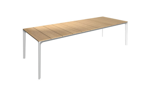 Carver 99cm x 280cm  Table With Buffed Teak Top And White Frame